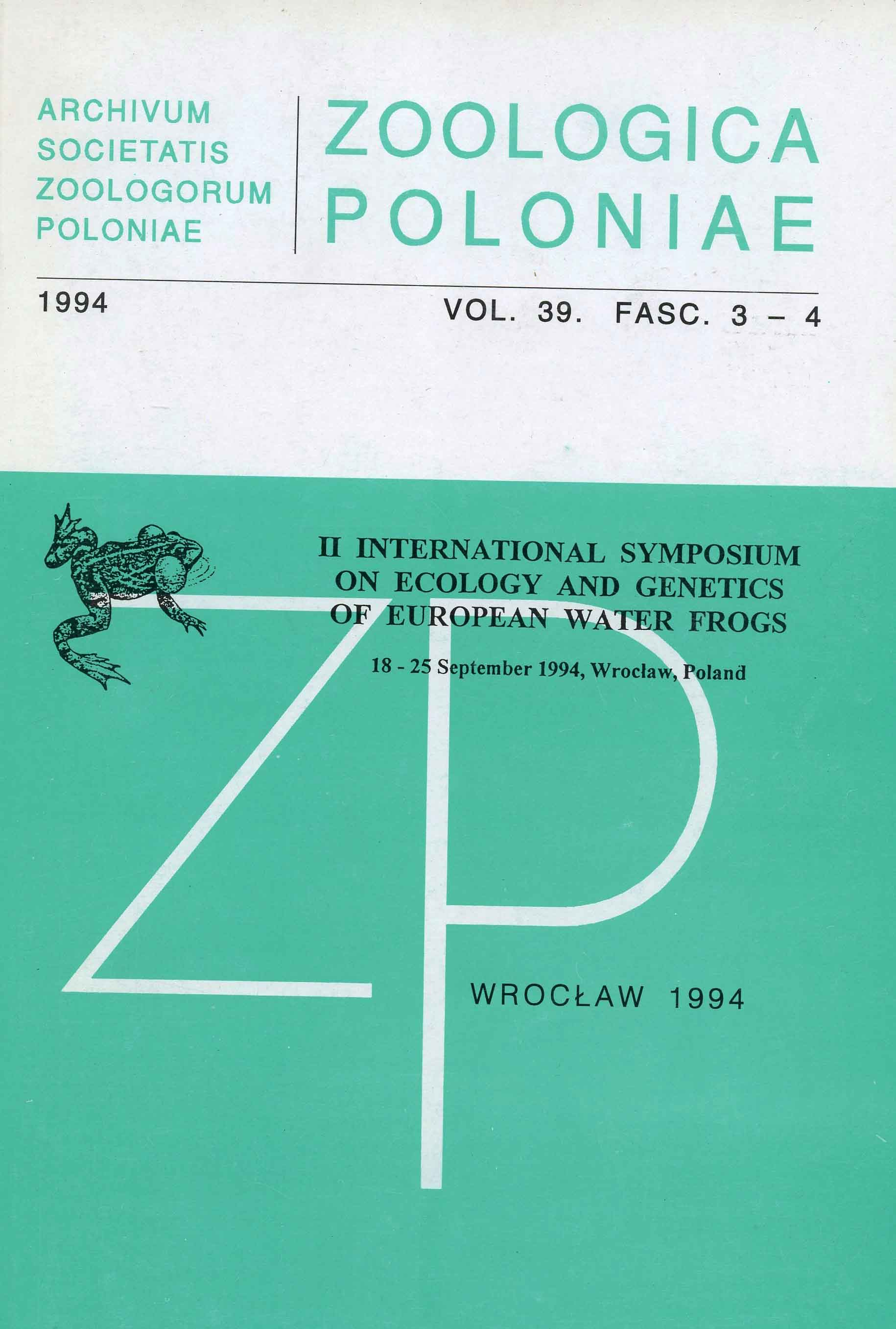 Image for Zoologica Poloniae: II International Symposium on Ecology and Genetics of European Water Frogs (18-25 September 1994, Warsaw, Poland
