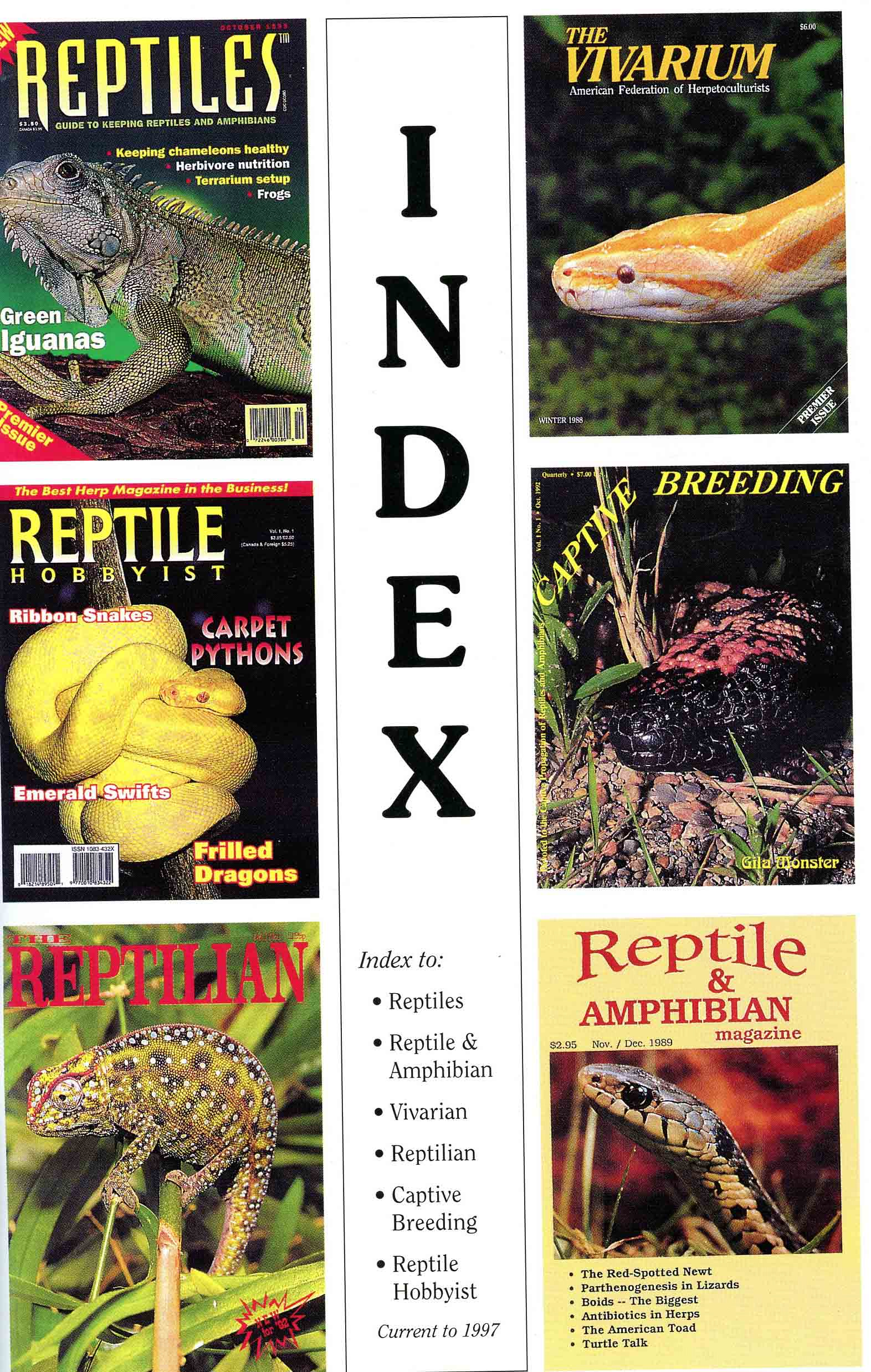 Image for Index to: Reptiles, Reptile & Amphibian, Vivarium, Reptilian, Captive Breeding, Reptile Hobbyist, current to 1997,