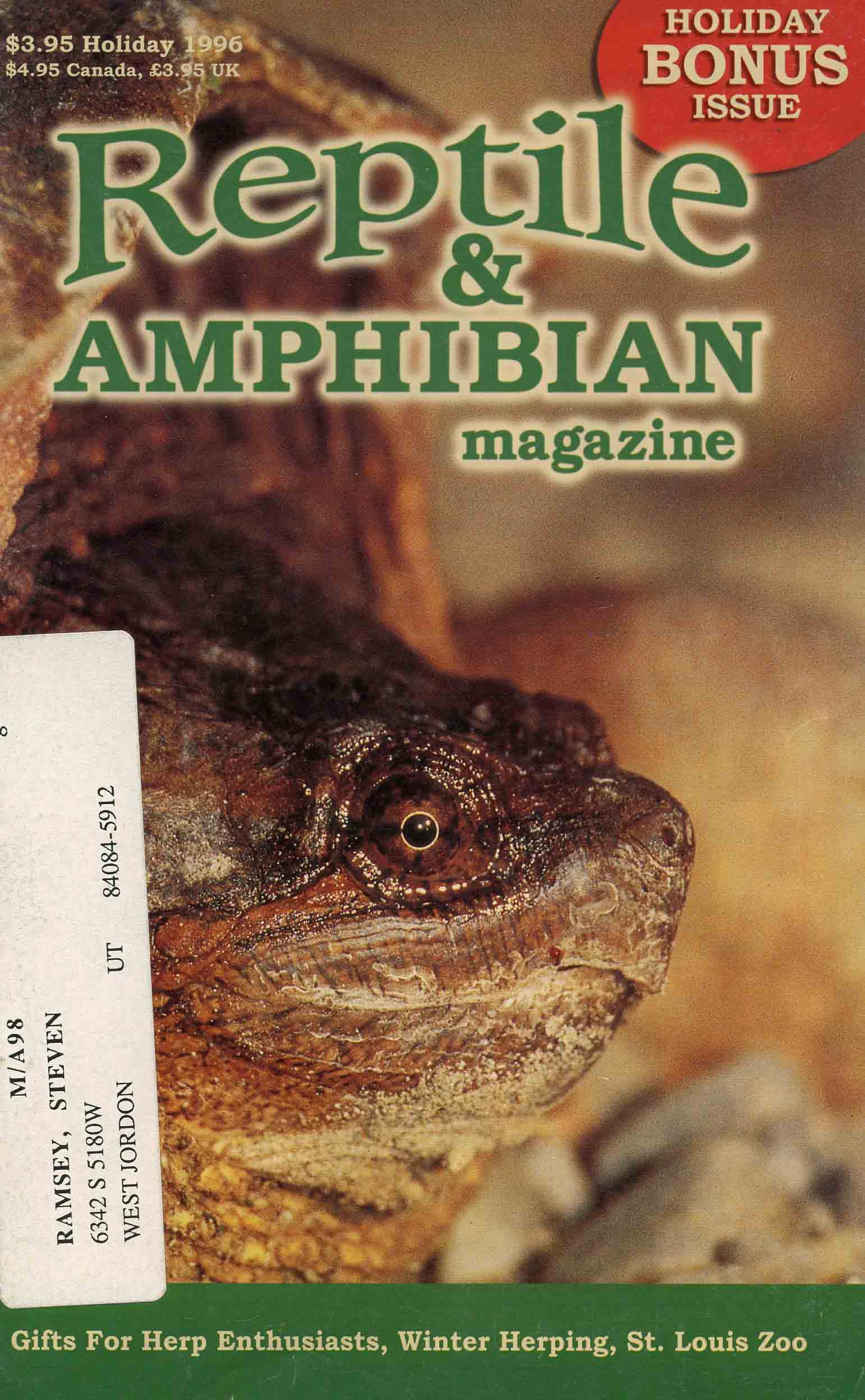 Image for Reptile & Amphibian Magazine, Holiday Bonus Issue 1996