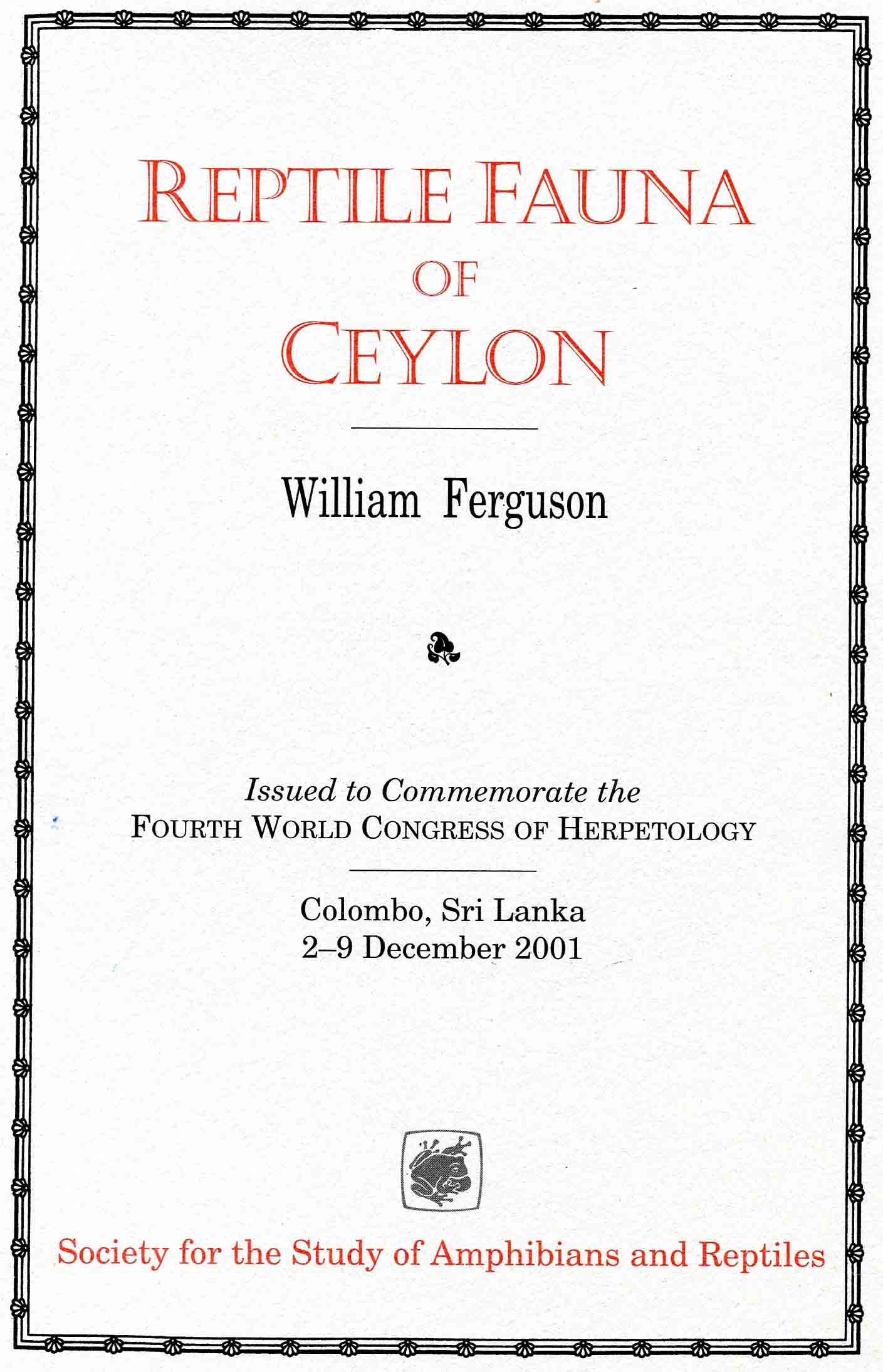 Image for Reptile Fauna of Ceylon,