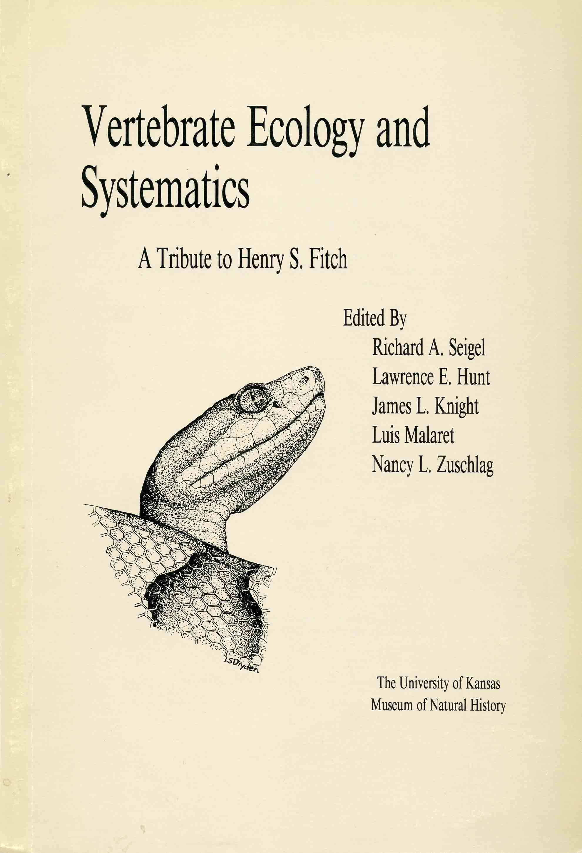 Image for Vertebrate Ecology and Systematics: A Tribute to Henry S. Fitch